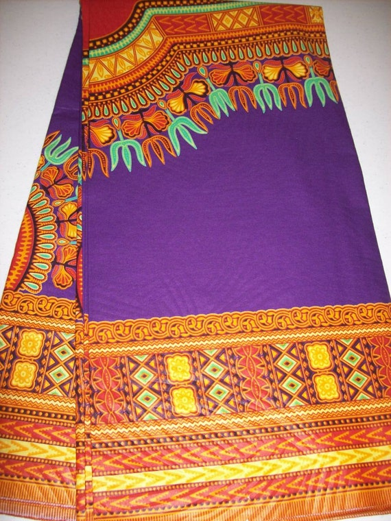 2 Yards Dark Purple Color Dashiki Fabric Per Panel Dashiki