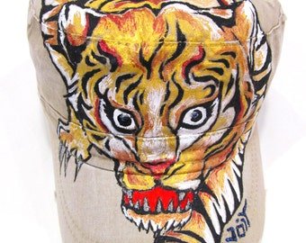 Tiger tattoo Inspired Handpainted Lion Cadet Hat with Adjustable band
