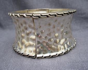 Silver Bracelet, vintage, cuff, hammered, stretch cuff, wide, vintage cuff
