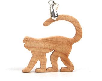 Mangabey Old World Monkey Necklace, African Animal Pendant, Wood Animal Jewelry, Mangabey Pendant, Year of the Monkey Jewelry, Maple