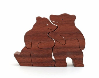 Wood Bear Pair, Wooden Bear Figurines, Animal Decoration, Rustic Woodland Decor, Valentine's Bear, Walnut
