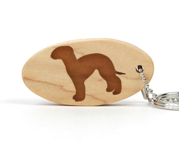 Bedlington Terrier Key Chain Wood Dog Key Ring Pet Key Chain Wooden Terrier Key Fob Dog Breed Scroll Saw Key Chain Cherry