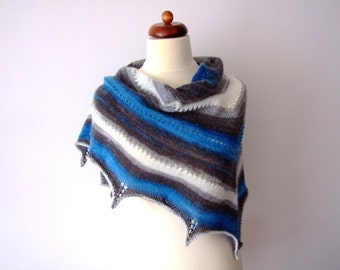blue white grey scarf, knit triangle scarf