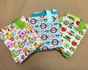 Owls Reuseable Washable Grocery Shopping Bags Set of 3