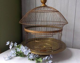 Vintage Hendryx Brass Round Dome Bird Cage
