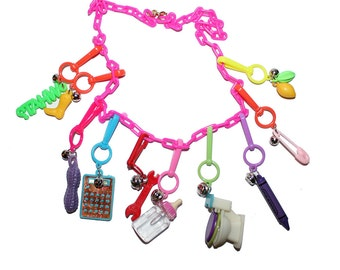 Vintage Bell Charm Necklaces - Plastic Rainbow Charms 80's 90's Vintage Jewelry Bell Charms Rainbow Collectible Jewelry 80s Kids clip charm