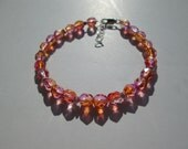 Sweet sunrise bracelet- faceted glass and sterling silver- adjustable