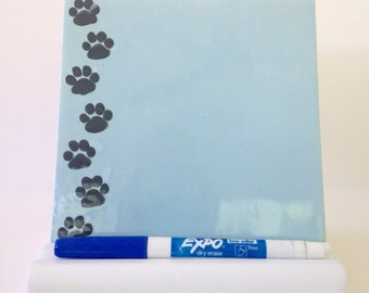 Tile Dry Erase Message Board -Paw Prints- With Stand and Dry Erase Marker