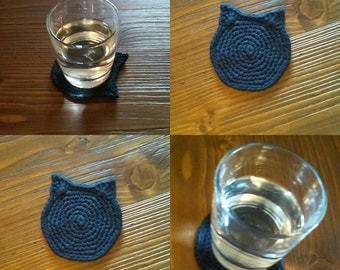 Black Cat Coasters, Halloween Beer Mat, Kitty Cat Coasters, Cat Ears Coaster, Black Cat Lover Gift, Kitten Head Mug Rug