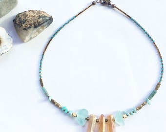 Nia Necklace - with Quartz crystal for clarity, power, energy, Hematite for courage, Malachite to rid negativity and Amazonite for luck OOAK