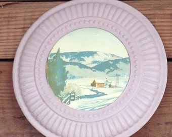 Vintage Antique 1950's Pink Tin Flue Cover with Winter Farm Scene