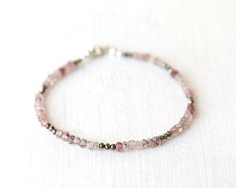 Pink Strawberry Quartz and Pyrite Beaded Bracelet / Sterling Silver / 14K Gold Filled / Rose Gold / Stackable Gemstone Bracelet