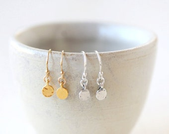 Dainty Round Dot Circle Earrings - Simple Gold or Silver Round Earrings Everyday Jewelry