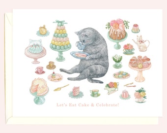 High Tea Kitty Birthday Card (Grey Tabby Cat)