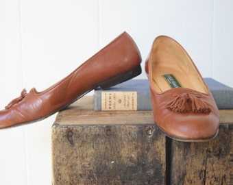 SALE * Modern Vintage Cole Haan Leather Loafers with Tassels / Size 9.5 / Leather Slip-ons / Leather Flats / Vintage Flats