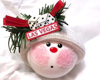 SALE Las Vegas Souvenir Christmas Ornaments Dice Gambling Hand Painted Handmade Personalized Themed by Townsend Custom Gifts - BR