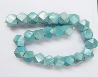 Metallic blue, hexagon shape  Inlaid Shell Beads  (15mm), shell beads