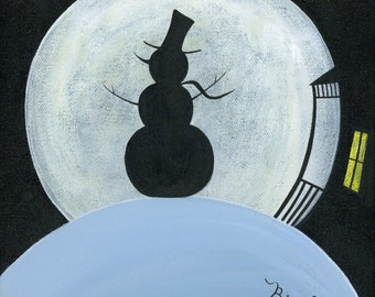 Original Painting Snow Moon - 8x8 - Winter Folk Art - Silhouette of a snowman in front of a full moon - OOAK Acrylic on Canvas