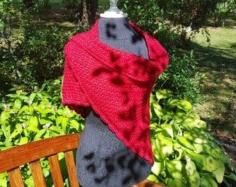Crochet shawl, red wedding shawl, women's shawl, anniversery gift for her, bridesmaids gift