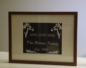 Horse Themed Custom Family Name Framed Print with Chalkboard Black Background and Wedding Date