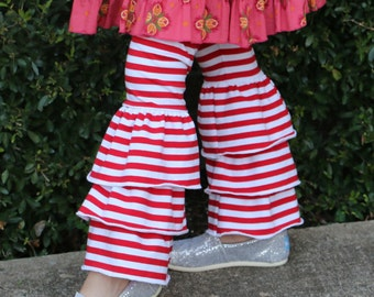 Red and white striped triple ruffle leggings sizes 12m - 12 girls