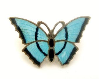 Vintage Stratnoid turquoise enamel butterfly brooch