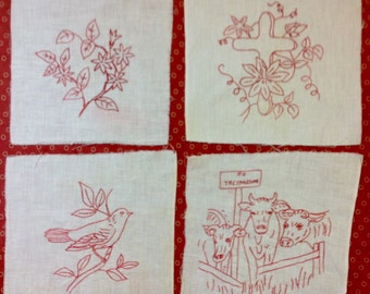 Four Vintage Redwork Embroidery Penny Squares