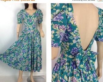 Summer Sale Vintage 80s Laura Ashley Dress Floral Tea Dress Romantic Party Dress Spring Easter Dress Backless Dress UK 10  EUR 36  USA 8 Ful
