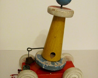 1960's EDUCA Wooden Pull Toy - Made in France - Vintage - Lighthouse - Rusty Bell - Kitschy!