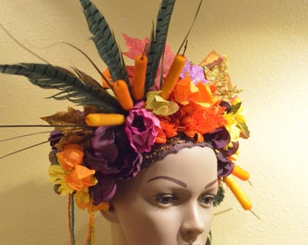 Tribal Goddess Feather Flower crown - Ready to Ship -  Tropical Bright Intricate unique Whimsical Death Fairy Creature Headdress Fascintor