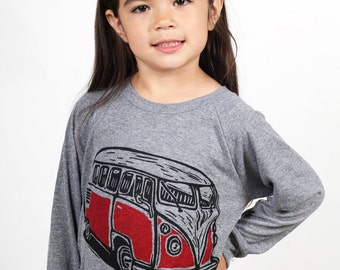 Ready To Ship!!!! Vintage Van On Children's American Apparel Pullover Tri Blend Grey 2T, 4T, 6T, 8Y, 10Y, 12Y