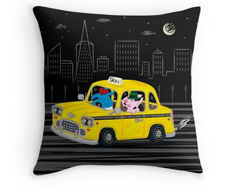 "Taxi Ride - Black and Yellow - Children's Decor - Throw Pillow Cover / Cushion Cover - (16"" x 16"") by Oliver Lake - iOTA iLLUSTRATION"