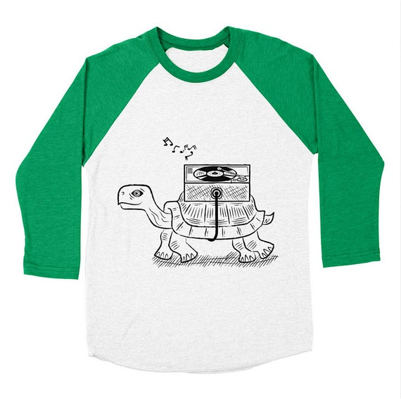 TORTOISE WAX - Long Sleeve Baseball - Mdern / Retro - Triblend T-Shirt - Mens / Womens T-shirt / Tee - iOTA iLLUSTRATiON