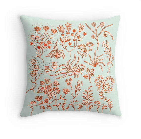 "Plant Lyfe (No.3) - light green and orange - Plants / Fauna / Foliage - Cushion Cover / Throw Pillow Cover (16"" x 16"") by Oliver Lake"
