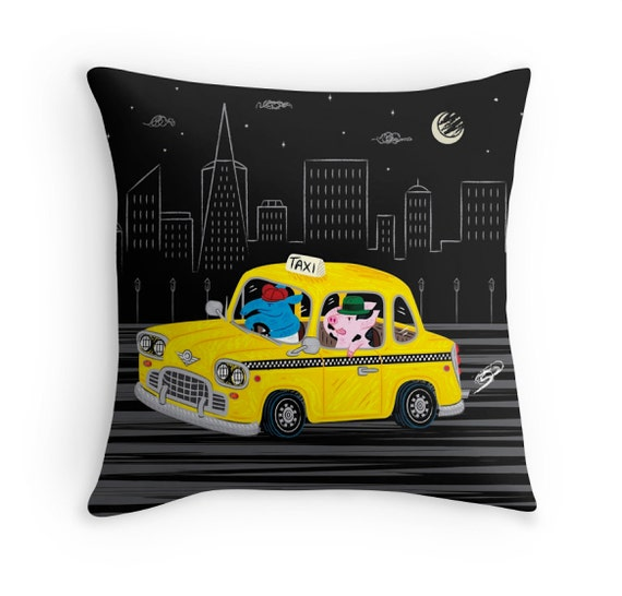 "Taxi Ride - Black and Yellow - Throw Pillow Cover / Cushion Cover - (16"" x 16"") by Oliver Lake - iOTA iLLUSTRATION"