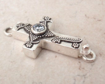 Sterling Silver Box Clasp Sideways Cross Clear CZ Granulation Single Strand Qty. 1 C039