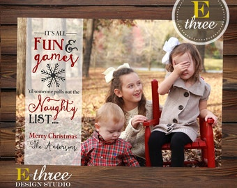 Naughty or Nice Funny Christmas Card - Naughty List Christmas Picture Card - Funny Holiday Card