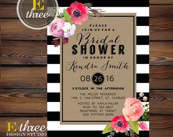 Bridal Shower Invitation - Black and White Stripes, Watercolor Flowers, Kraft Paper - Wedding Shower Invite, Modern and Rustic #1010