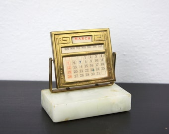 Vintage Perpetual Desk Calendar, Art Deco Date Display Stand with Marble Base, Brass Patina, 1930s, Desktop Accessory Office Decor 330043