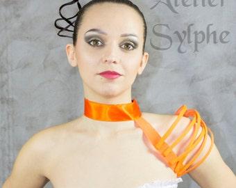 Single asymetrical Halloween fluo orange fantasy shoulder boned crinoline.