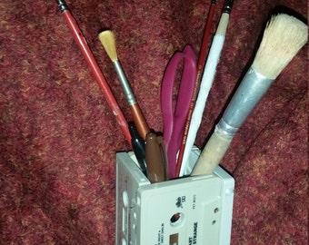 Cassette Tape Desk organizer Pencil Holder Art 80s Rock retro music heart the byrds rolling stones sammy hagar