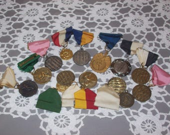 Cheer leading Pins Metals with Ribbons Lot of 14
