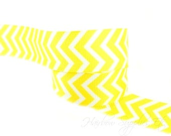 Yellow Chevron Ribbon 7/8 inch NEW Grosgrain Ribbon - Hairbow Supplies, Etc.