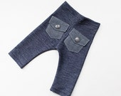 newborn boy PANTS with pockets (Aiden) - photography prop - blue, navy, denim, jeans, pockets