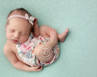 newborn girl playsuit (Lola) - photography prop - cream, seafoam, orange, pink, mint, floral, playsuit, sunsuit, romper