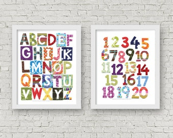 Printable Wall Art, Patchwork Alphabet and Numbers, Colorful Alphabet Art, Modern Nursery Print, Digital Download, 8x10 and 11x14
