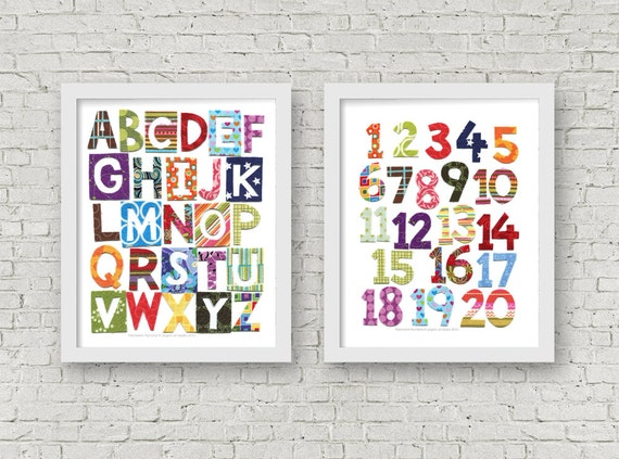 Patchwork Alphabet and Numbers, Colorful Alphabet Art, Modern Nursery Print, Printable Wall Art, Digital Download, 8x10 and 11x14