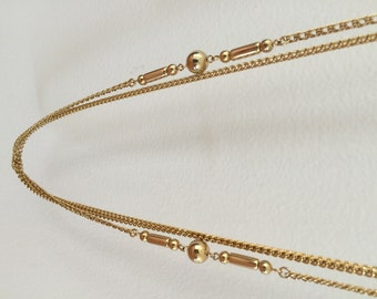 "52"" LONG NECKLACE - Opera Length Multi Strand with Beautiful Gold Tone Inserts"