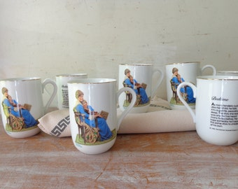 VIntage Set of 8 Norman Rockwell Mugs - Bedtime - Mothers Day Gift