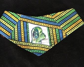 QK3-1604 M Green Dog Striped Quilt-Kerchief